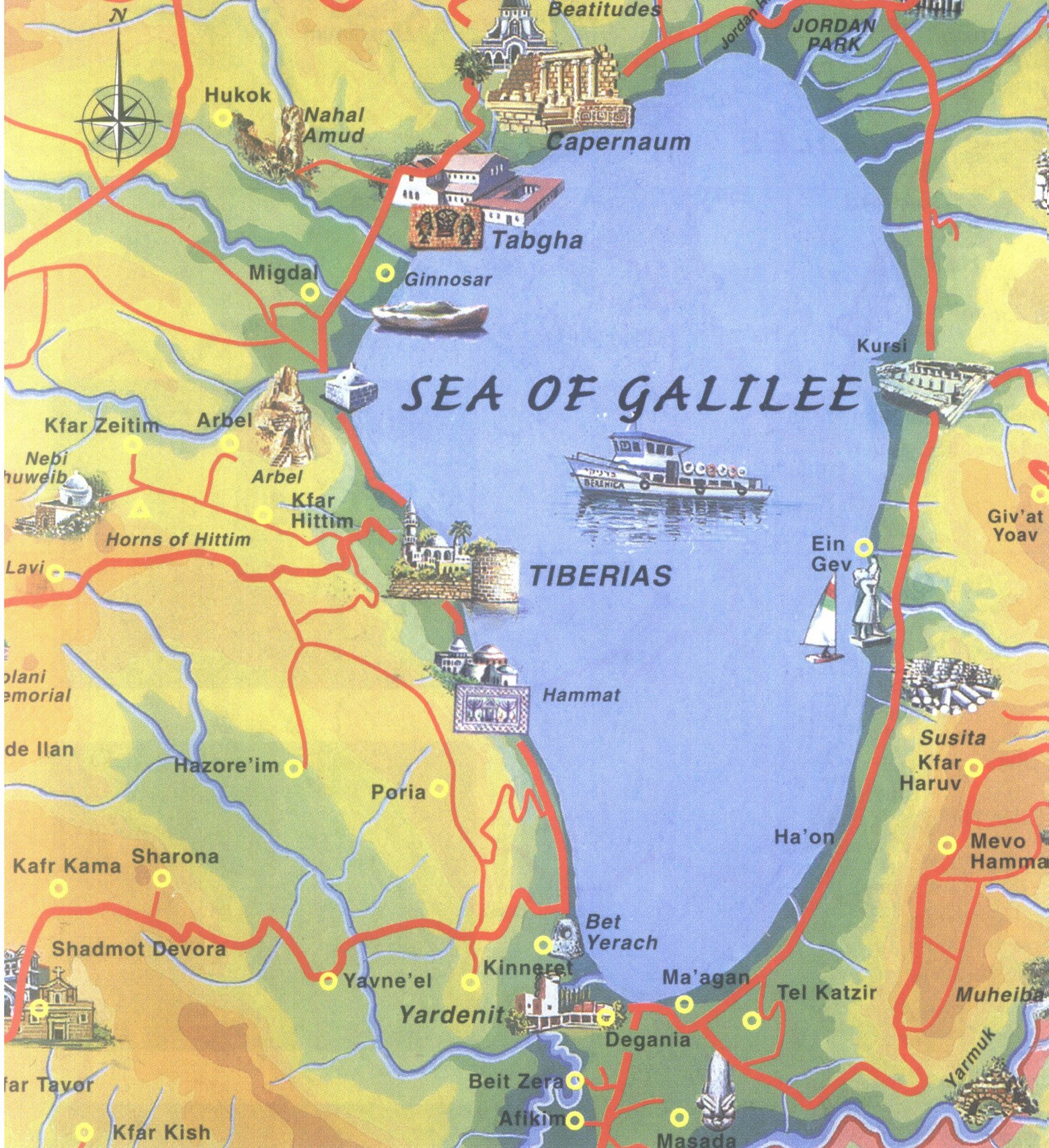 Sea of Galilee Map Touring Routes