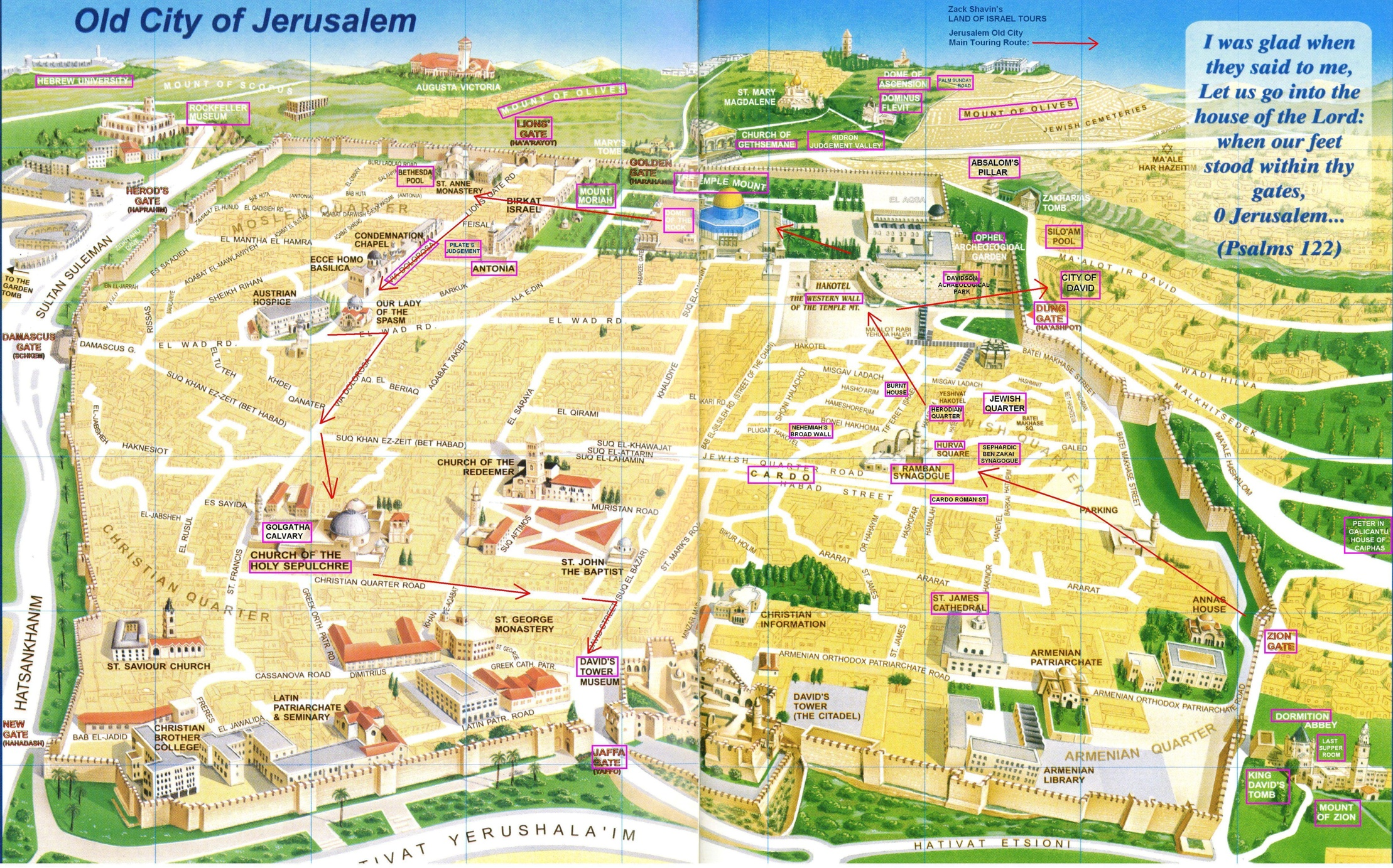 Popular 188 List tourist map of jerusalem